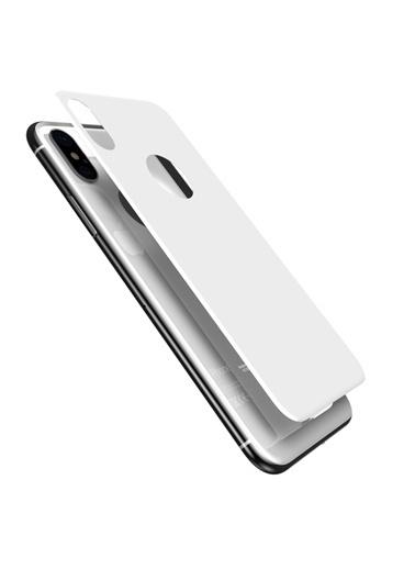 Microsonic Apple iPhone X Arka Tam Kaplayan Temperli Cam Koruyucu Beyaz Beyaz
